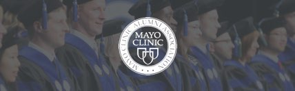 Graduates seated with Mayo Clinic seal overlayed.