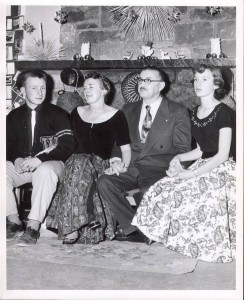 Paul Schnur, M.D. (left), with parents Aileen and Dr. Leo Schnur and sister Sally Schnur Forster at their home in Grand Canyon in 1952.