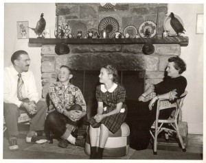 Paul Schnur, M.D. (second from left), with parents Dr. Leo Schnur and Aileen and sister Sally Schnur Forster at their home in Grand Canyon in 1948.