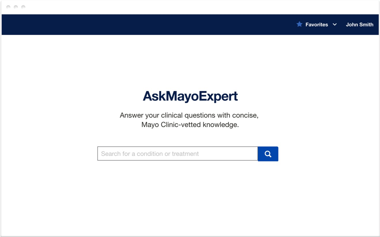 example of Ask Mayo Expert interface